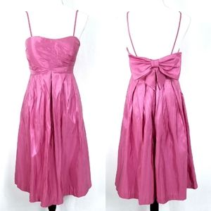 Bill Levkoff Pink Taffeta Bow Party Dress